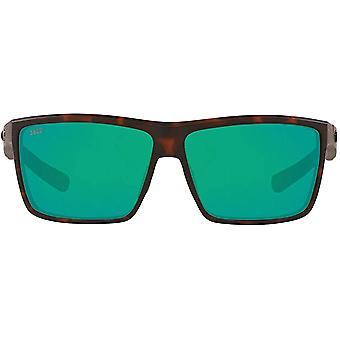Costa Del Mar Mens Rinconcito Polarized Rectangular Sunglasses - Matte Tortoise/Green Mirrored - 60 mm