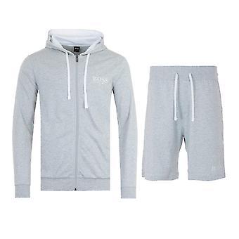 BOSS Bodywear Sustainable Hooded Sweatshirt & Shorts Loungewear Set - Light Grey Marl