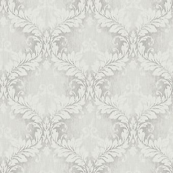 Vintage Damast grau weiß Wallpaper
