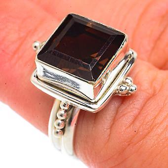 Smoky Quartz Ring Size 6.25 (925 Sterling Silver)  - Handmade Boho Vintage Jewelry RING66219