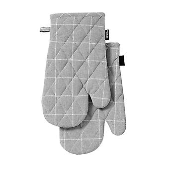 Ladelle Eco Check Set of 2 Oven Mitts, Grey
