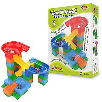 Small Marble Track Maze - Marble Run Toy Bricks Game - 56 Pieces