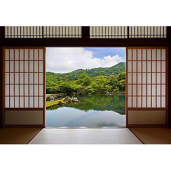 Fondo de pantalla Mural puertas correderas japonesas y hermoso jardín de estanque