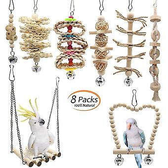 Bird toys 8 pcs/set bird parrot swing chewing toys with creative natural wood standing toys|bird toys