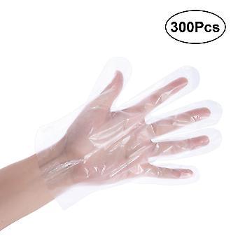 300pcs/ Pack Luvas de Pe de plástico descartáveis para cozinha de cozinha casa cozinha limpeza industrial