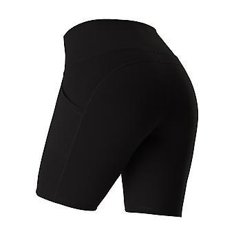 女性のためのスポーツショーツランニングフィットネスハイウエストプッシュアップヒップサイドポケットタイトジムショートパンツレギンス