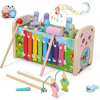 Hölzernes musikalisches hämmerndes Spielzeug 7-in-1 hämmerndes & hämmerndes Spielzeug mit Xylophon