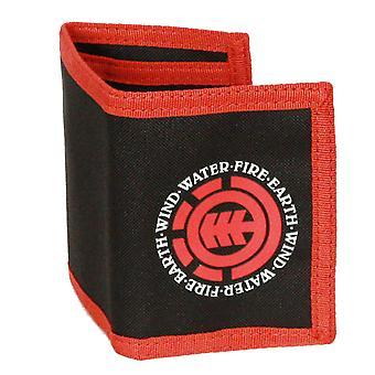 Élément à trois volets portefeuille avec poches internes et Section de pièce de monnaie zippé ~ élémentaire noir