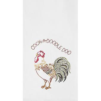 Rooster Down on Farm Flour Sack Kitchen Towel Cotton 27 Inches