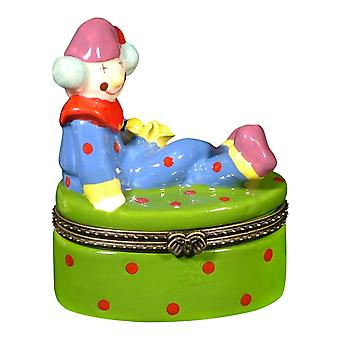 Happy Circus Clown Hat Hinged Trinket Box phb