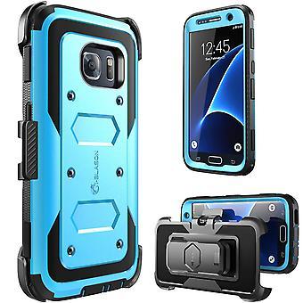 Caso de S7 de galáxia, Armorbox, i-Blason construído no protetor de tela, para Samsung Galaxy S7 2016 lançamento-azul