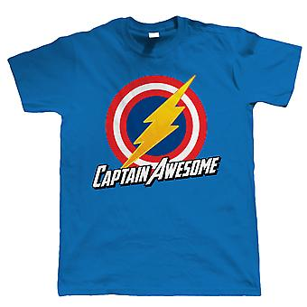Captain Awesome, Mens Funny Super Hero T Shirt, Cadeau voor papa hem
