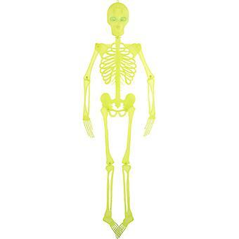 Fényes csontváz dekoráció 150cm, villogó szemmel csontváz