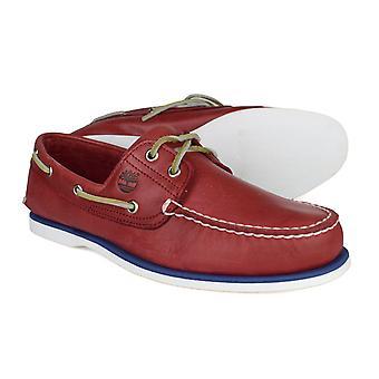 Timberland Classic 2 Eye Mens röd läder snörning båt skor 6829B