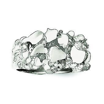925 Sterling Gümüş Mens Nugget Yüzük Yüzük Erkekler için Takı Hediyeler - Yüzük Boyutu: 9-11