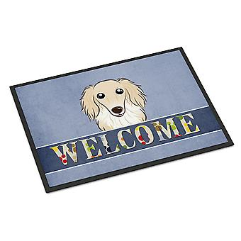 Longhair Creme Dachshund Welcome Indoor or Outdoor Mat 24x36