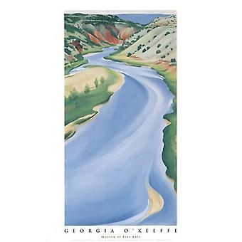 Blue River (Chama floden) plakat Print af Georgien OKeeffe (22 x 39)