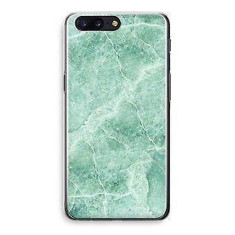 OnePlus 5 Transparant Case (Soft) - Green marble