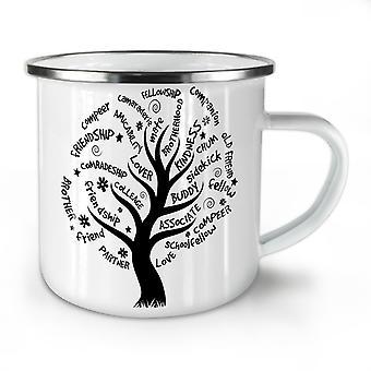 Tree Friend Life NEW WhiteTea Coffee Enamel Mug10 oz | Wellcoda
