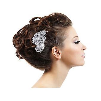 Boda accesorios peine pluma pelo de pavo real en cristal blanco