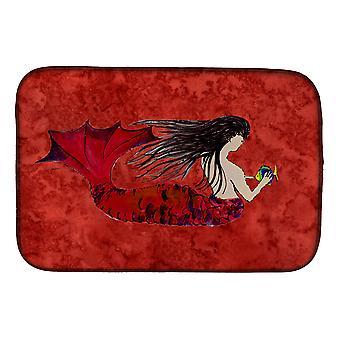 Carolines Treasures  8726DDM Black Haired Mermaid on Red Dish Drying Mat