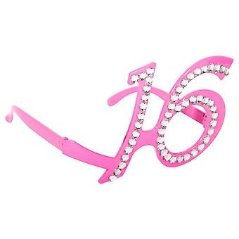 Brille Dekobrille Glasses pink Sweet 16 Teenieparty Geburtstag Glitzerbrille
