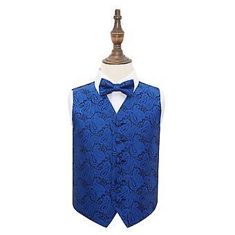 Royal blau Paisley Hochzeit Weste & Fliege Set für jungen