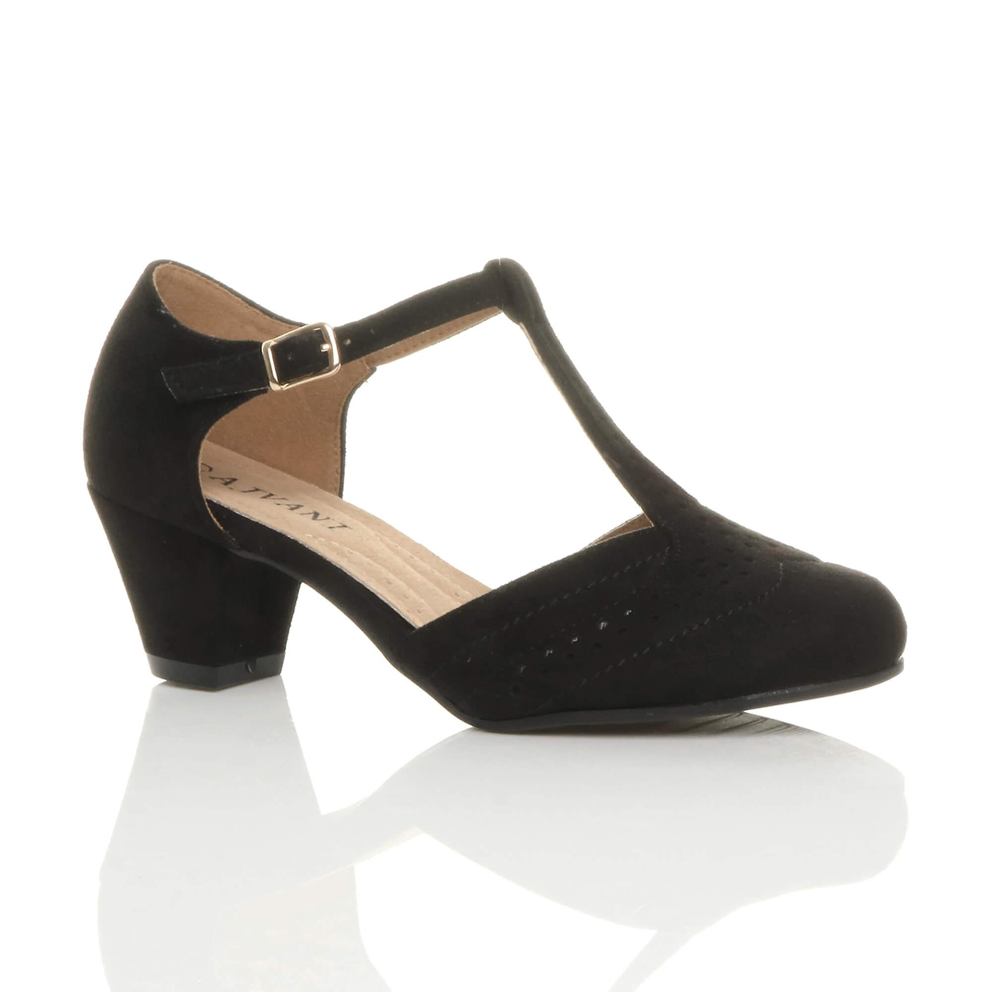 Ajvani womens mid low block heel t-bar brogue comfort rubber sole court shoes sandals dl4Nc