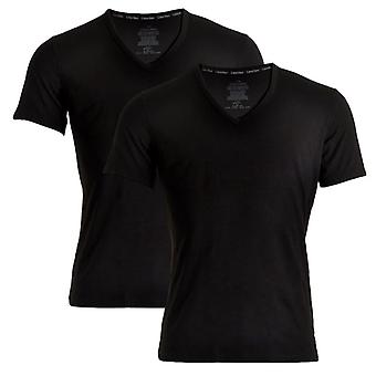 Calvin Klein ID Cotton Short Sleeved Slim Fit V-Neck T-Shirt 2-Pack, Black, Small