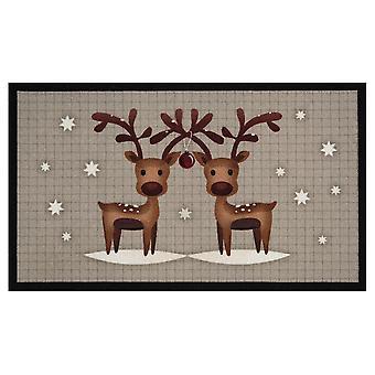 Doormat dirt trapping pad Christmas reindeers grey Braun 45 x 75 cm