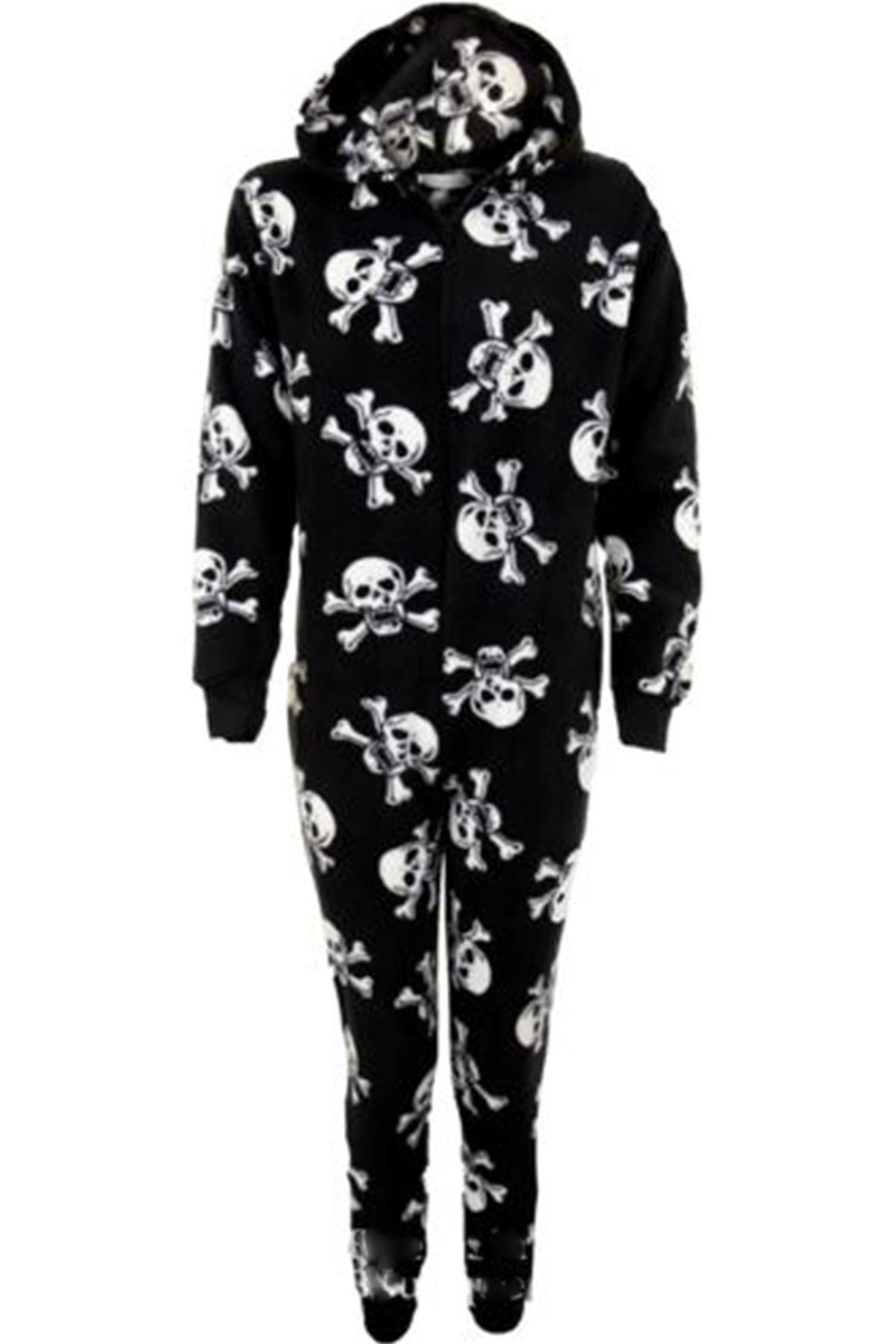 Children's Hooded Tiger Zebra Skull Warm Zip Up Kid's All In One Onsie Pyjamas