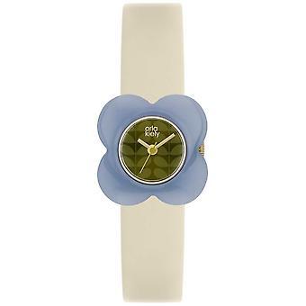 Orla Kiely mujeres Poppyblue caso correa de cuero crema OK2169 reloj