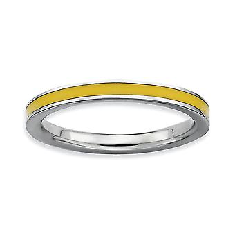 925 Sterling Silver Polished Rhodium plated Stackable Expressions Yellow Enameled 2.25mm Ring Jewelry Gifts for Women -