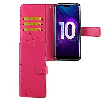 Huawei Honor 10 Handy Hülle Schutz-Tasche Cover Flip-Case Kartenfach Pink