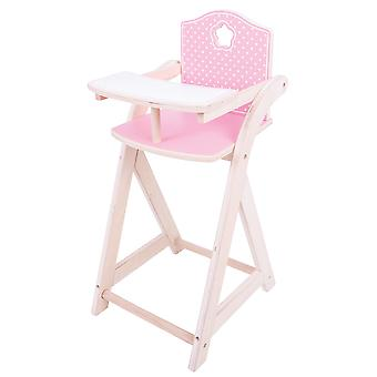 Bigjigs Toys Wooden Doll's High Chair Pretend Role Play Accessories