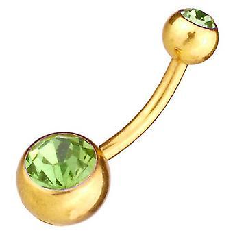 Vatsa Baari banaani napa lävistyksiä kultaa peitetty vihreä kiviä Vartalokorut