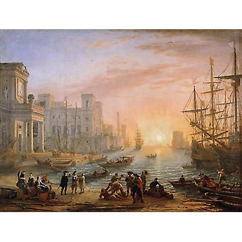 Seaport at Sunset, Claude Lorrain, 50x40cm