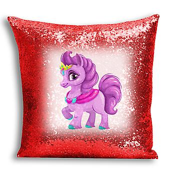 i-Tronixs - Unicorn Printed Design Red Sequin Cushion / Pillow Cover for Home Decor - 18