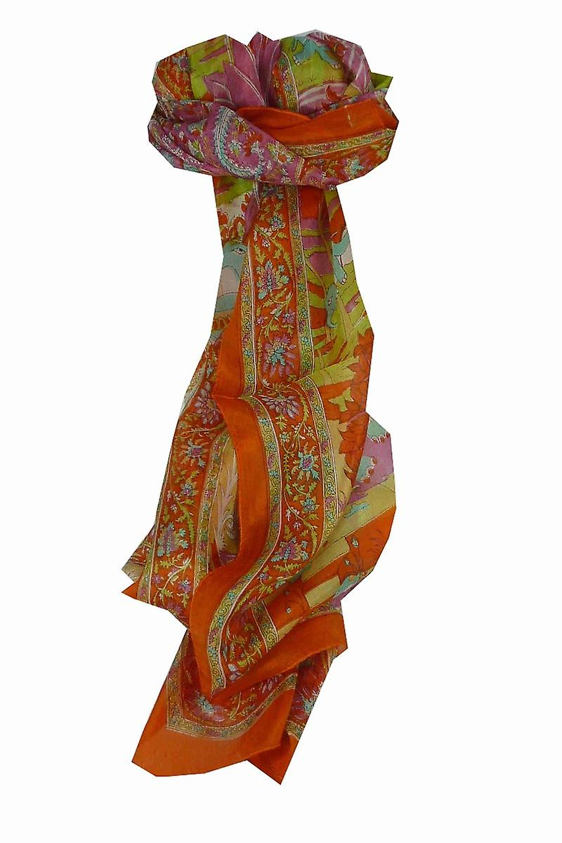 Mulberry Silk Traditional Long Scarf Bahan Tangerine by Pashmina & Silk