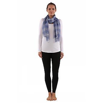 Lichtgewicht check wol en zijden sjaal - blauw
