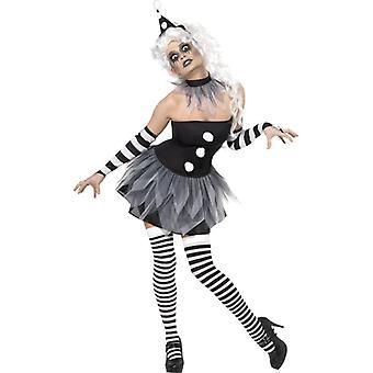 Sinistere Pierrot kostuum, UK jurk 16-18