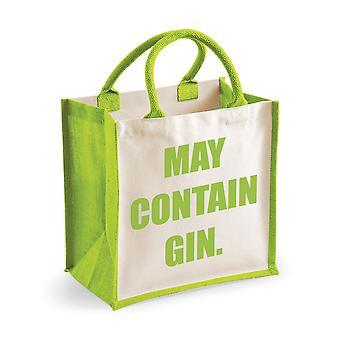 Medium Jute Bag May Contain Gin Green Bag