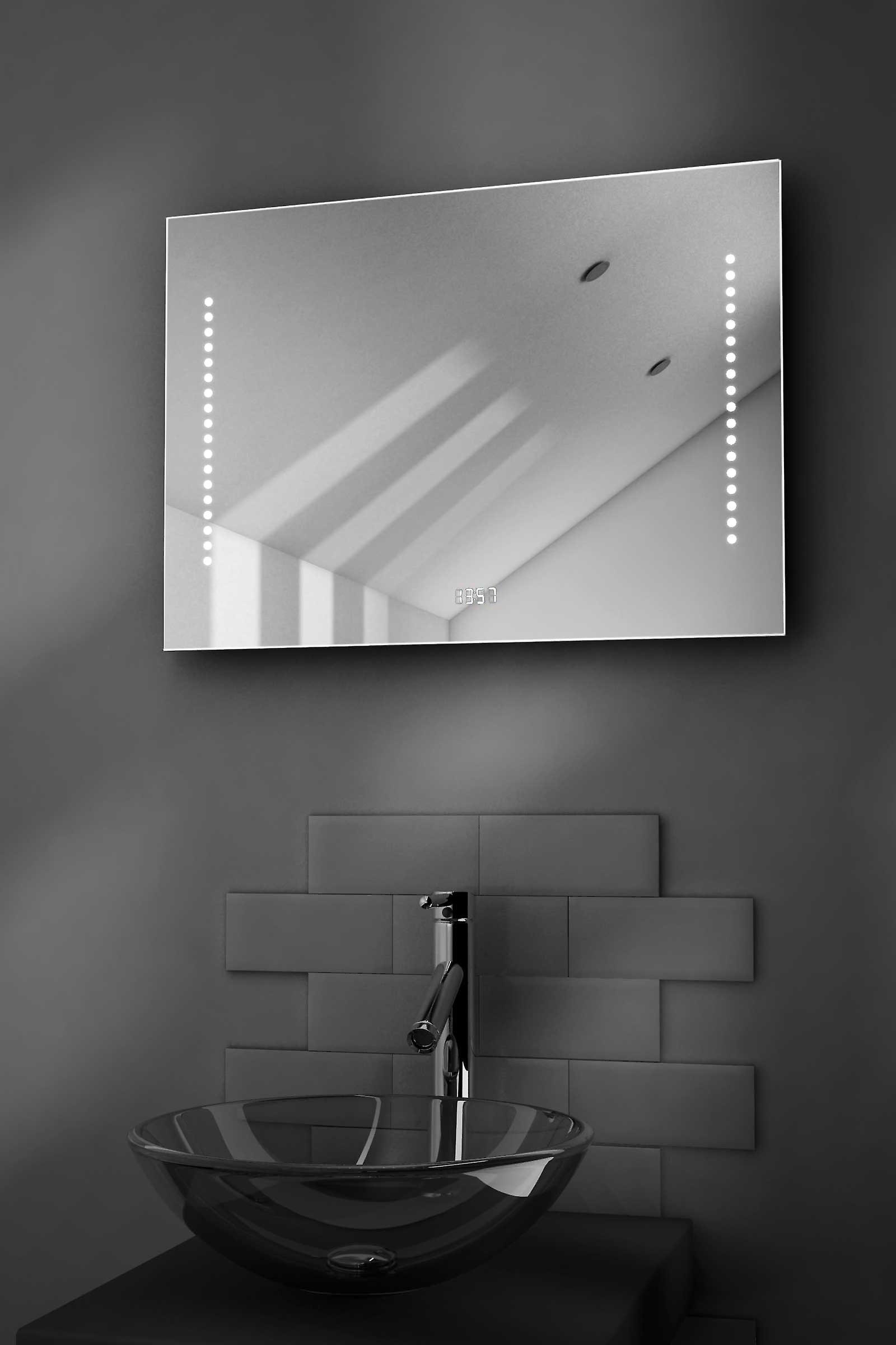 Beatrix Shaver Bathroom Mirror With Clock, Demister & Sensor k193