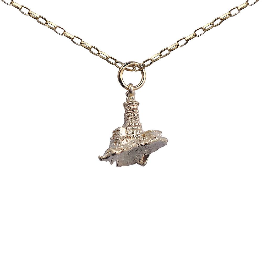 9ct Gold 15x16mm solid Lighthouse and Rock Pendant with a 1.4mm wide belcher Chain 24 inches