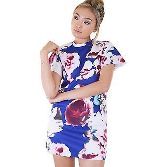 Lovemystyle blå klänning med vita och rosa blommor