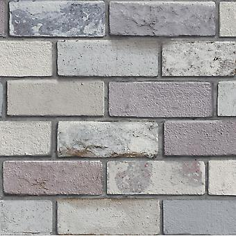 Industrial Brick Wallpaper Slate Stone Rustic Weathered Natural Colours Arthouse