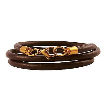 Lederkette 4 mm Herren Halskette braun 17-100 cm lang mit Karabiner Verschluss Gold Rund