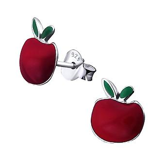 Sterling Silber Red Apple Stud Ohrringe