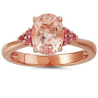2ct Morganite & Pink Sapphire Vintage Ring 14K Rose Gold