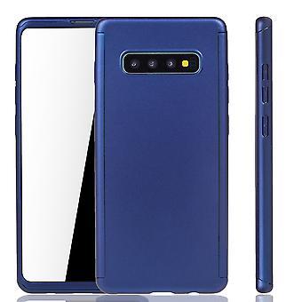 Samsung Galaxy S10 Plus Handy Hülle Schutz-Case Full-Cover Panzer Schutz Folie Blau